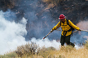 August 23, 2017<br /> A firefighter works to extinguish the Mogul Fire as it burns in northwest Reno, Nevada, on Wednesday, August 23, 2017. Reports from the Truckee Meadows Fire department, at approximately 4:30 pm, claim the fire has burned 120 acres and 10 homes have been evacuated. There has been one heat-related injury. The cause of the fire has not been determined at this time.