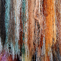 Asia, China, Suzhou. Hanging silk threads to be used for embroidery.