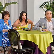 "Jane The Virgin -- ""Chapter Seventy-Six"" -- Image Number: JAV412a_0051.jpg -- Pictured (L-R): Ivonne Coll as Alba, Gina Rodriguez as Jane and Jaime Camil as Rogelio -- Photo: Lisa Rose/The CW -- © 2018 The CW Network, LLC. All Rights Reserved."