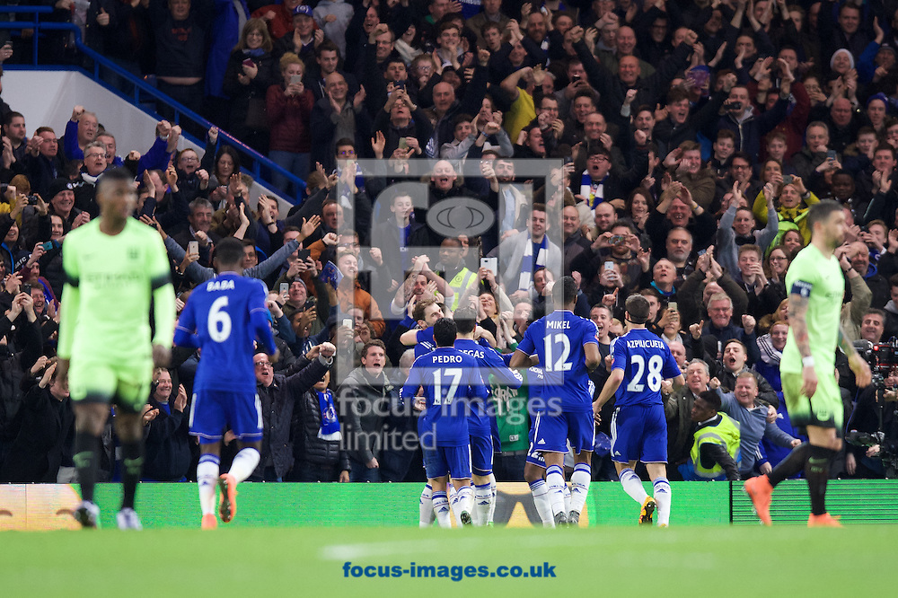 Chelsea players celebrates after scoring their third goal to make it 3-1 during the FA Cup match at Stamford Bridge, London<br /> Picture by Alan Stanford/Focus Images Ltd +44 7915 056117<br /> 21/02/2016