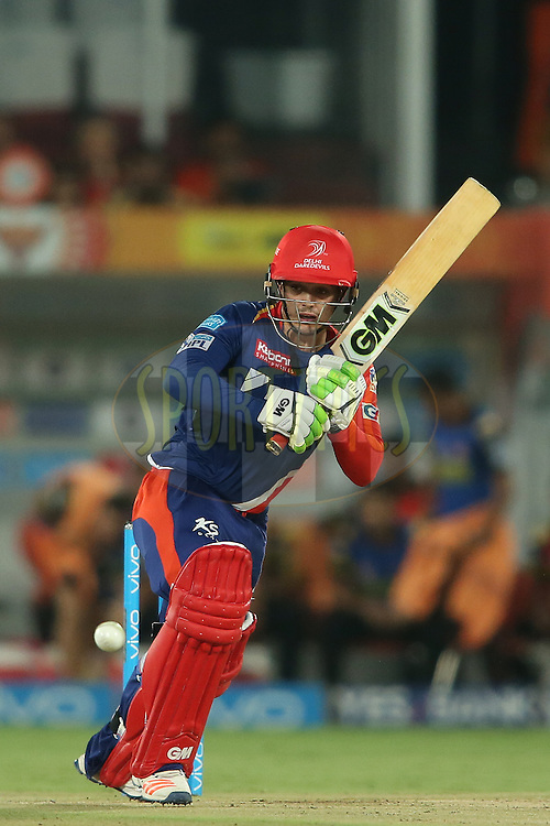 Quinton de Kock of Delhi Daredevils sets off for a run during match 42 of the Vivo IPL 2016 (Indian Premier League) between the Sunrisers Hyderabad and the Delhi Daredevils held at the Rajiv Gandhi Intl. Cricket Stadium, Hyderabad on the 12th May 2016<br /> <br /> Photo by Shaun Roy / IPL/ SPORTZPICS