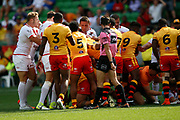 Sam Burgess of England gets behind the team during a altercation during the Rugby League World Cup Quarter-Final match between England and  Papua New Guinea at Melbourne Rectangular Stadium, Melbourne, Australia on 19 November 2017. Photo by Mark  Witte.