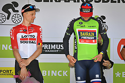 August 19, 2018 - Geraardsbergen, BELGIUM - Belgian Tim Wellens of Lotto Soudal and Slovenian Matej Mohoric of Bahrain-Merida , winner of the Binckbank Tour on the podium of the final stage of the Binkcbank Tour cycling race, 209,5 km from Lacs de l'Eau d'Heure to Geraardsbergen, Belgium, Sunday 19 August 2018. BELGA PHOTO DAVID STOCKMAN (Credit Image: © David Stockman/Belga via ZUMA Press)