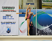 Ilaria Giovanelli from Pontevecchio team during the Italian Rhythmic Gymnastics Championship in Padova, 25 November 2017.