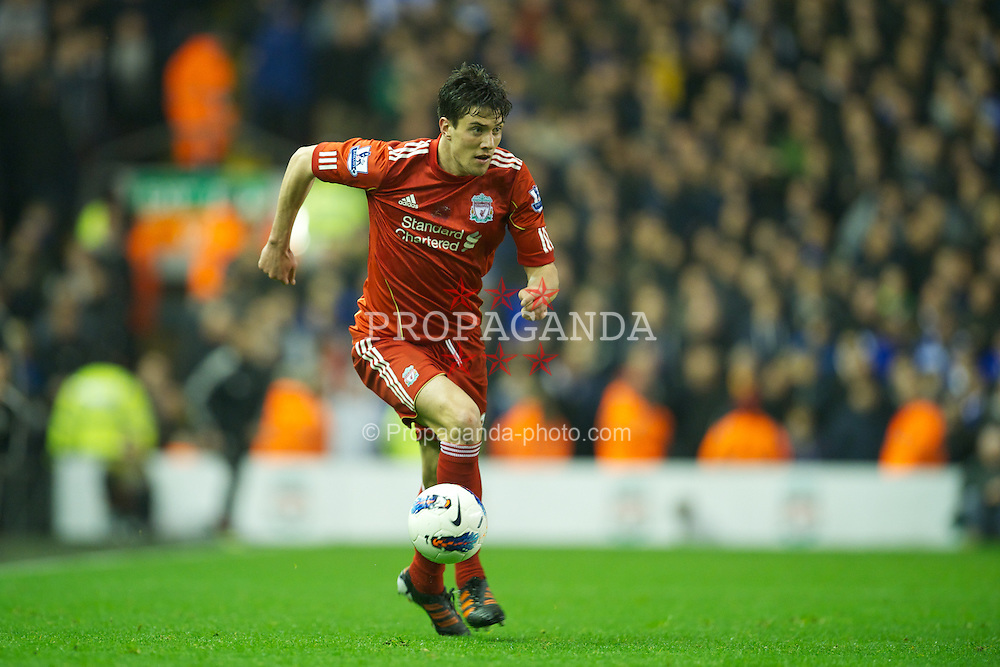 LIVERPOOL, ENGLAND - Tuesday, March 13, 2012: Liverpool's Martin Kelly in action against Everton during the Premiership match at Anfield. (Pic by David Rawcliffe/Propaganda)