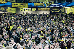 24.02.2015, Veltins Arena, Turin, ITA, UEFA CL, Juventus Turin vs Borussia Dortmund, Achtelfinale, Hinspiel, im Bild Dortmund Fanblock // during the UEFA Champions League Round of 16, 1st Leg match between between Juventus Turin and Borussia Dortmund at the Veltins Arena in Turin, Italy on 2015/02/24. EXPA Pictures © 2015, PhotoCredit: EXPA/ Eibner-Pressefoto/ Kolbert<br /> <br /> *****ATTENTION - OUT of GER*****