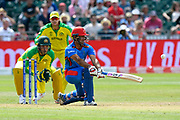 Najibullah Zadran of Afghanistan plays a reverse sweep during the ICC Cricket World Cup 2019 match between Afghanistan and Australia at the Bristol County Ground, Bristol, United Kingdom on 1 June 2019.