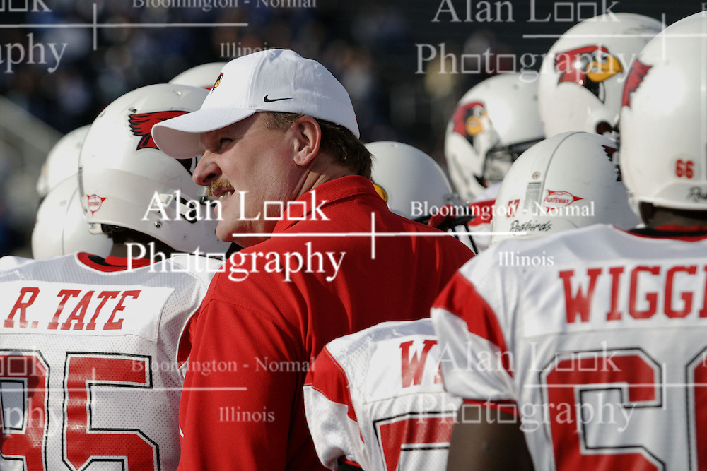 25 November 2006: Denver Johnson mingles with his players as the huddle up as they arrive on the field before the game.&#xD;The Redbirds romped the Panthers by a score of 24-13.&#xD;This game was a 1st round NCAA Division 1 Playoff held at O'Brien Stadium on the campus of Eastern Illinois University in Charleston Illinois.<br />