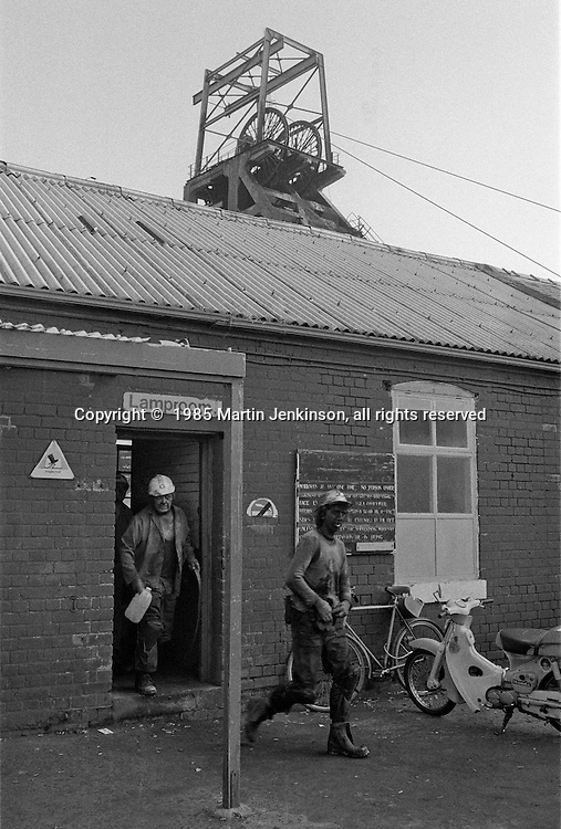 Miners coming of shift on the last day at Cortonwood pit.