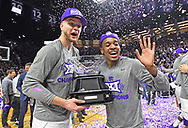 MANHATTAN, KS - MARCH 09:  Barry Brown Jr. (R) and Dean Wade #32 of the Kansas State Wildcats celebrate after beating the Oklahoma Sooners to win the Big 12 Regular Season Championship during on March 9, 2019 at Bramlage Coliseum in Manhattan, Kansas.  (Photo by Peter G. Aiken/Getty Images) *** Local Caption *** Barry Brown Jr.;Dean Wade
