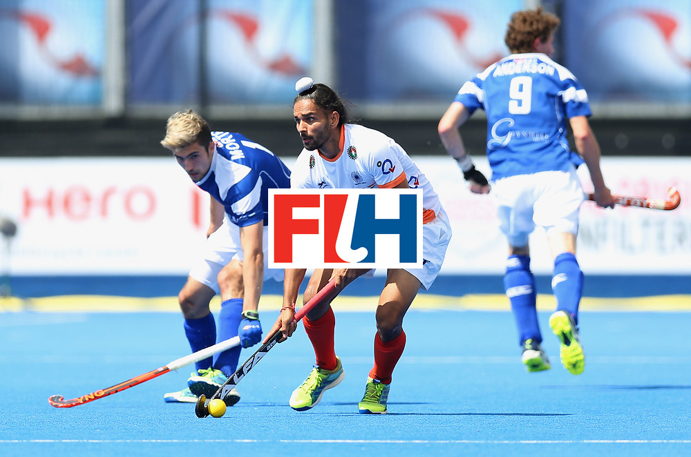 LONDON, ENGLAND - JUNE 15:  Akashdeep Singh of India and Lee Morton of Scotland battle for the ball during the Pool B match between India and Scotland on day one of Hero Hockey World League Semi-Final at Lee Valley Hockey and Tennis Centreo n June 15, 2017 in London, England.  (Photo by Alex Morton/Getty Images)