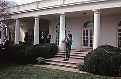 United States President George H.W. Bush reads a statement rejecting the proposed Soviet peace agreement to end the Gulf War with Iraq in the Rose Garden of the White House in Washington, D.C. on February 22, 1991. Also visible in the photo are White House Press Secretary Marlin Fitzwater, National Security Advisor Brent Scowcroft, White House Chief of Staff John Sununu, and U.S. Vice President Dan Quayle.<br /> Credit: Howard L. Sachs / CNP /ABACAPRESS.COM
