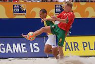 Football-FIFA Beach Soccer World Cup 2006 - Semi-final -BRA_POR -Buru-BRA- figths for the ball with Mariho-POR - Rio de Janeiro - Brazil 11/11/2006<br />Mandatory credit: FIFA/ Marco Antonio Rezende.