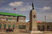 War memorial (1982 Argentian & British conflict) and Union Jack, Stanley, capital of Falkland Islands