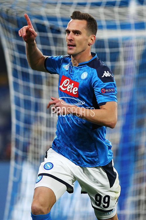 Arkadiusz Milik of Napoli celebrates after scoring 1-0 goal during the UEFA Champions League, Group E football match between SSC Napoli and KRC Genk on December 10, 2019 at Stadio San Paolo in Naples, Italy - Photo Federico Proietti / ProSportsImages / DPPI