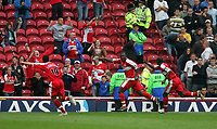 Photo: Andrew Unwin.<br />Middlesbrough v Everton. The Barclays Premiership. 14/10/2006.<br />Middlesbrough celebrate Yakubu (C) scoring from the penalty spot.