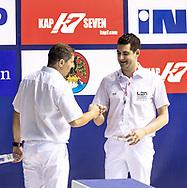 Achladiotis, Colombo - Referees<br /> SRB - MNE Serbia (white cap) Vs. Montenegro (blue cap)<br /> LEN Europa Cup Men 2018 finals<br /> Water Polo, Pallanuoto<br /> Rijeka, CRO Croatia<br /> Day01<br /> Photo &copy; Giorgio Scala/Deepbluemedia/Insidefoto