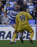 Reading, England, Nationwide Division One Football Reading v Preston North End, Reading's Andy Hughes looks to go past Prestons Michael Keene, at the Madejski Stadium, on 18/10/2003 [Credit  Peter Spurrier/Intersport Images]..