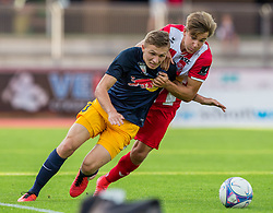 21.07.2017, Franz Fekete Stadion, Kapfenberg, AUT, 2. FBL, KSV 1919 vs FC Liefering , 1. Runde, im Bild Maximilian Schuster (FC Liefering), Benjamin Rosenberger (KSV 1919) // during the Austrian Erste Liga Match, 1th Round, between KSV 1919 and FC Liefering at the Franz Fekete Stadium, Kapfenberg, Austria on 2017/07/21, EXPA Pictures © 2017, PhotoCredit: EXPA/ Dominik Angerer