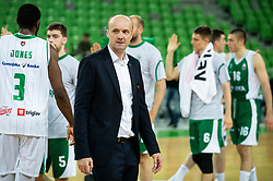 Jure Zdovc, coach of Petrol Olimpija after winning during basketball match between KK Petrol Olimpija and KK Krka in Round #6 of Liga Nova KBM za prvaka 2018/19, on April 5, 2019, in Arena Stozice, Ljubljana, Slovenia. Photo by Vid Ponikvar / Sportida