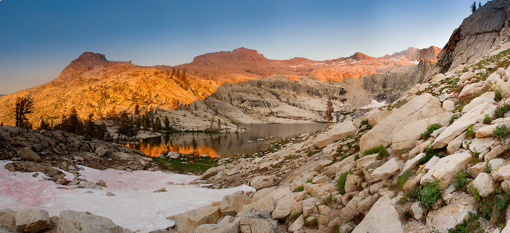 Panoramic view of Pear Lake at dusk.
