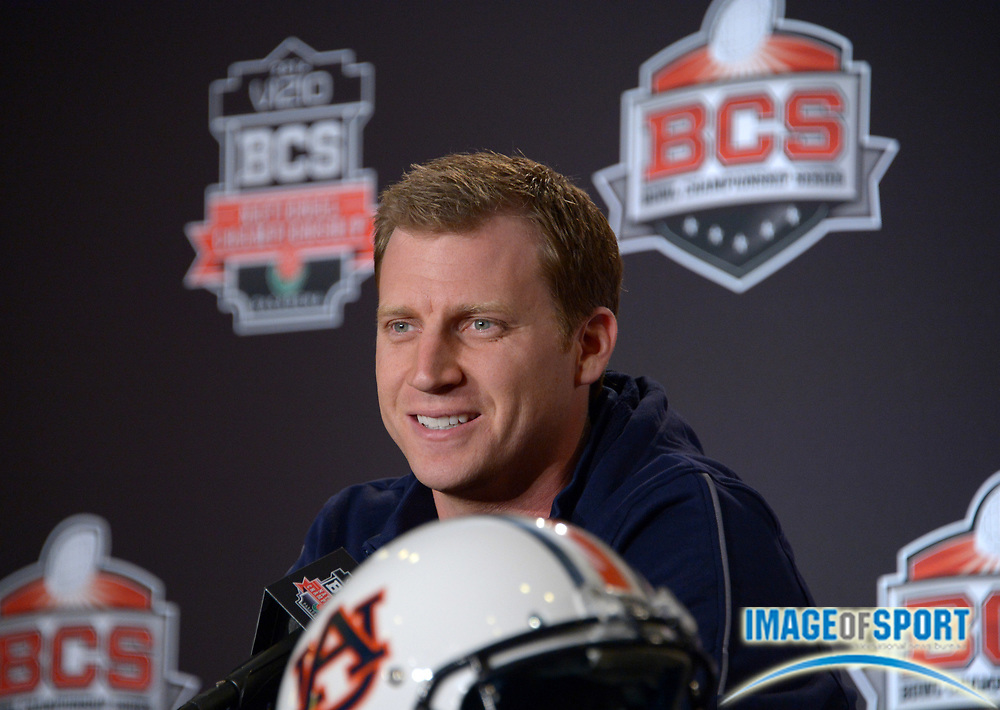 Jan 2, 2014; Newport Beach, CA, USA; Auburn Tigers offensive coordinator Rhett Lashlee at 2014 BCS National Championship press conference at Newport Beach Marriott.