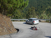 China, Guangxi Province, Guilin, a traffic accident on a curving mountain road