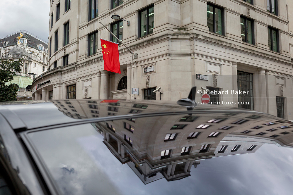 The Bank of China is reflected in the roof of a parked limousine, on 14th September 2017, in the City of London, England.