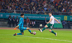 NANNING, CHINA - Thursday, March 22, 2018: Wales' Sam Vokes scores the fifth goal during the opening match of the 2018 Gree China Cup International Football Championship between China and Wales at the Guangxi Sports Centre. (Pic by David Rawcliffe/Propaganda)