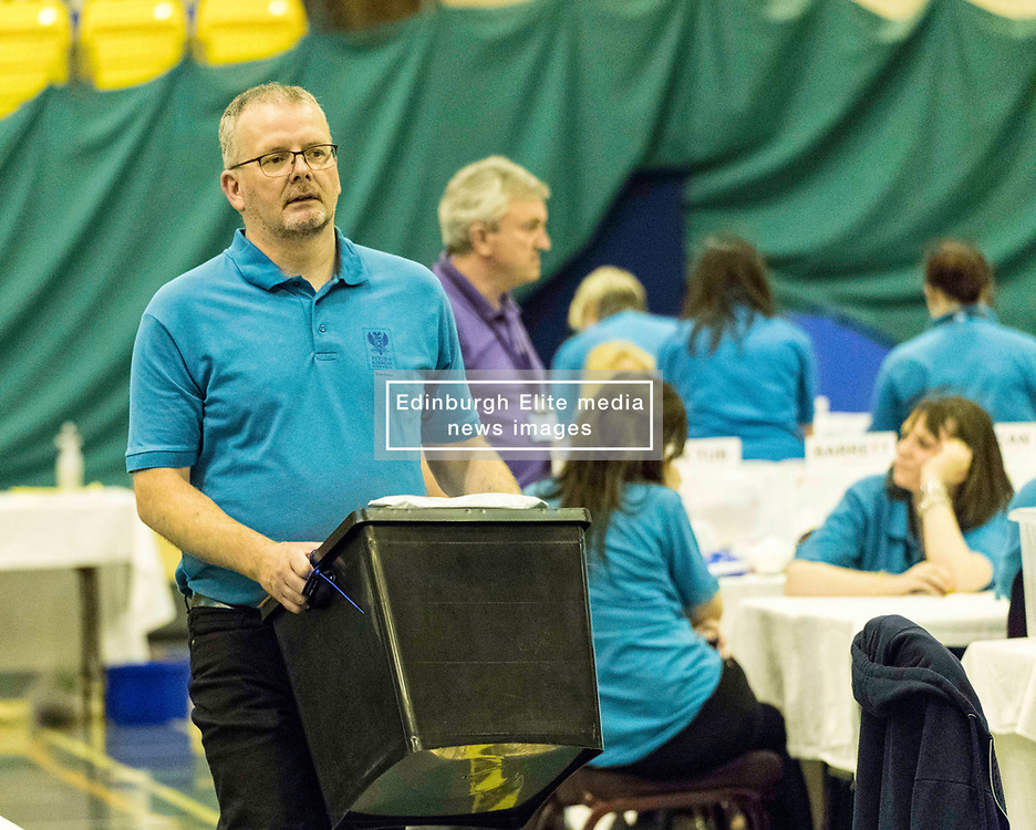 The count for the UK Parliamentary General Election 2017 for the Perth & North Perthshire Constituency takes place at Bell's Sports Centre in Perth.<br /> <br /> The four candidates standing for the seat are Peter Barrett (Scottish Liberal Democrats), Ian Duncan (Scottish Conservatives), David Roemmele (Scottish Labour) and Pete Wishart (SNP)<br /> <br /> Pictured: Count is in full flow at Perth and North Perthshire with a predicted declaration time of 2am