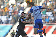 Dan Burn and Ian Henderson during the EFL Sky Bet League 1 match between Wigan Athletic and Rochdale at the DW Stadium, Wigan, England on 24 February 2018. Picture by Daniel Youngs.