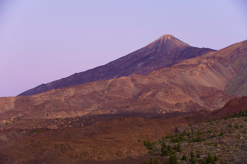The Teide volcano (the highest mountain of Spain, 3.718 m), at sunset from Montaña Samara. Teide National Park, Tenerife Island, Canary Islands, Spain.