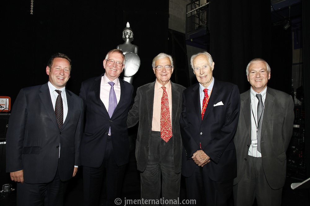 Ed Vaizey MP, John Deacon CBE, Lord Baker of Dorking, Nick Williams (BRIT School Principal) and Sir George Martin CBE, The BRIT School Industry Day, Croydon, London..Thursday, Sept.22, 2011 (John Marshall JME)