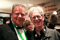 08 November 2014. New Orleans, Louisiana. <br /> 2014 International Irish Famine Commemoration, Gallier Hall.<br /> Larry Kirwan, lead singer of Irish band 'Black 47' with Adrian D'Arcy, president of the Irish Network, New Orleans.<br /> Photo; Charlie Varley/varleypix.com