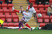 Ryan Jennings and Lathaniel Rowe-Turner during the Vanarama National League match between Kidderminster Harriers and Cheltenham Town at Aggborough, Kidderminster, United Kingdom on 26 December 2015. Photo by Antony Thompson.