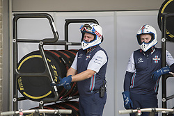 October 21, 2018 - Austin, USA - Members of the Williams Martini Racing team checks stacks of tires before the start of the Formula 1 U.S. Grand Prix at the Circuit of the Americas in Austin, Texas on Sunday, Oct. 21, 2018. (Credit Image: © Scott Coleman/ZUMA Wire)