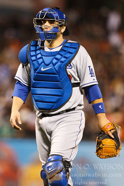 September 14, 2010; San Francisco, CA, USA;  Los Angeles Dodgers catcher Rod Barajas (28) during the sixth inning against the San Francisco Giants at AT&T Park. Los Angeles defeated San Francisco 1-0.