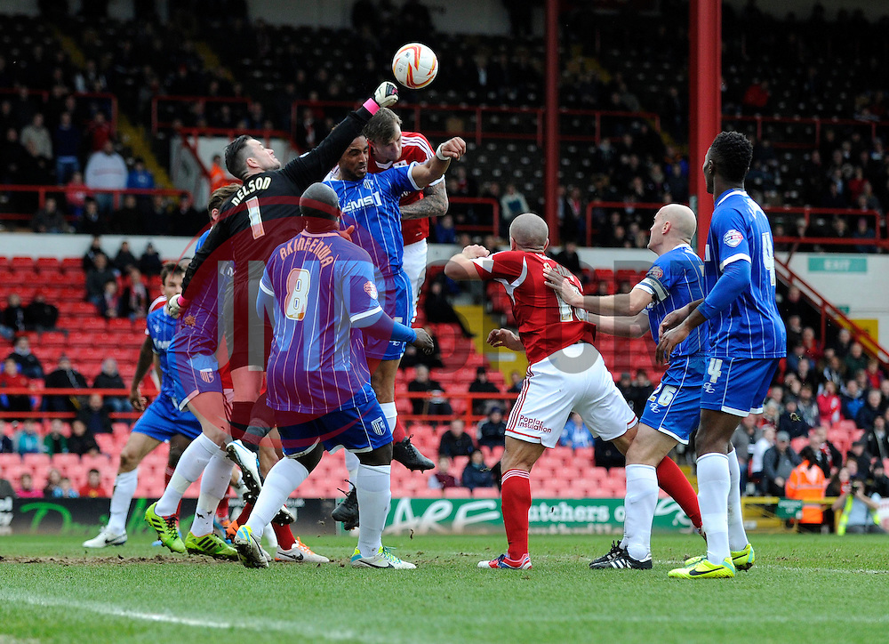 Bristol City's Aden Flint takes a shot at goal. - Photo mandatory by-line: Dougie Allward/JMP - Tel: Mobile: 07966 386802 01/03/2014 - SPORT - FOOTBALL - Bristol - Ashton Gate - Bristol City v Gillingham - Sky Bet League One