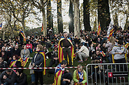 Independence supporters wait near the central podium for the incoming massive stream of demonstrators. Independentists rally thousands in Barcelona in support of their former leadership sent to jail by Spanish court following the Catalan Parliament proclamation of independence. November 11, 2017 in Barcelona, Spain.