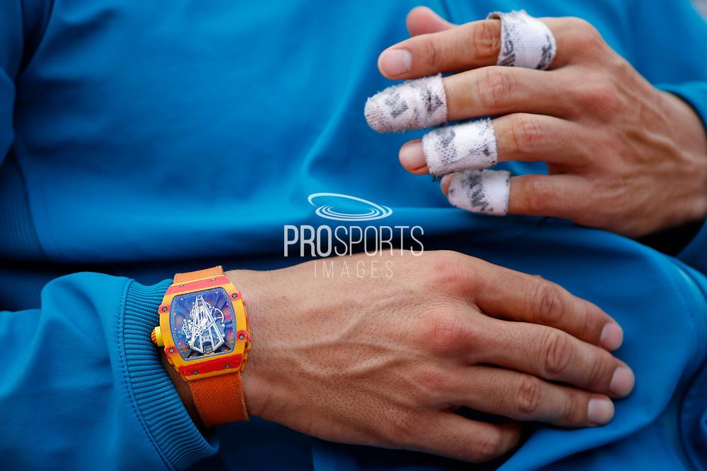 Richard Mille watch clock Rafael NADAL (ESP) during the Roland Garros French Tennis Open 2018, single Final Men, on June 10, 2018, at the Roland Garros Stadium in Paris, France - Photo Stephane Allaman / ProSportsImages / DPPI