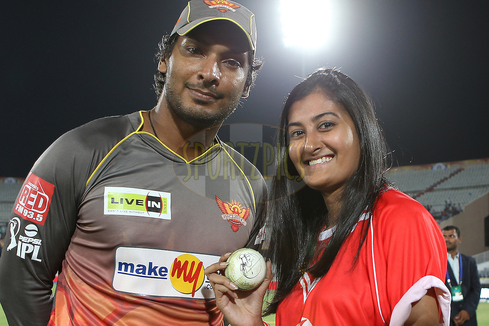 Kumar Sangakkara with the Vodafone Superfan during match 3 of of the Pepsi Indian Premier League between The Sunrisers Hyderabad and The Pune Warriors held at the Rajiv Gandhi International  Stadium, Hyderabad  on the 5th April 2013..Photo by Ron Gaunt-IPL-SPORTZPICS..Use of this image is subject to the terms and conditions as outlined by the BCCI. These terms can be found by following this link:..http://www.sportzpics.co.za/image/I0000SoRagM2cIEc