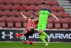 SOUTHAMPTON, ENGLAND - Monday, April 10, 2017: Liverpool's Corey Whelan in action against Southampton's Sam McQueen during FA Premier League 2 Division 1 Under-23 match at St.Mary's Stadium. (Pic by David Rawcliffe/Propaganda)