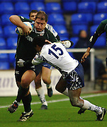 2005/06, European Challenge Cup, Exiles prop Neal Hatley attacking on the wing as London Irish beat Agen at the  Madejski Stadium, Reading, ENGLAND   © Peter Spurrier/Intersport Images - email images@intersport-images..   [Mandatory Credit, Peter Spurier/ Intersport Images].