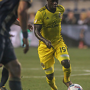 Columbus Crew SC Attacker KEKUTA MANNEH (19) advances the ball in the second half of a Major League Soccer match between the Philadelphia Union and Columbus Crew SC Saturday, July. 26, 2017, at Talen Energy Stadium in Chester, PA.
