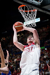 May 26, 2018 - Milan, Milan, Italy - Arturas Gudaitis (#77 EA7 Emporio Armani Milano) shoots a layup during a basketball game of Poste Mobile Playoff Lega Basket A between  EA7 Emporio Armani Milano vs Germani Basket Brescia at Mediolanum Forum, in Milan, Italy, on 26 May 2018. (Credit Image: © Roberto Finizio/NurPhoto via ZUMA Press)
