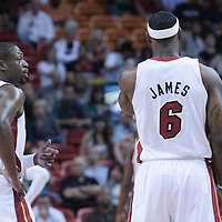 19 November 2010: Miami Heat's shooting guard #3 Dwyane Wade talks to Miami Heat's small forward #6 LeBron James during the Miami Heat 95-87 victory over the Charlotte Bobcats at the AmericanAirlines Arena, Miami, Florida, USA.