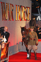 Joey the horse on the red carpet  at the premiere of War Horse in London, Sunday 8th January 2012.  Photo by: Stephen Lock / i-Images