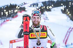 17.02.2019, Aare, SWE, FIS Weltmeisterschaften Ski Alpin, Slalom, Herren, Siegerehrung, im Bild Bronzemedaillengewinner Marco Schwarz (AUT) // Bronze medalist Marco Schwarz of Austria during the winner Ceremony for the men's Slalom of FIS Ski World Championships 2019. Aare, Sweden on 2019/02/17. EXPA Pictures © 2019, PhotoCredit: EXPA/ Dominik Angerer