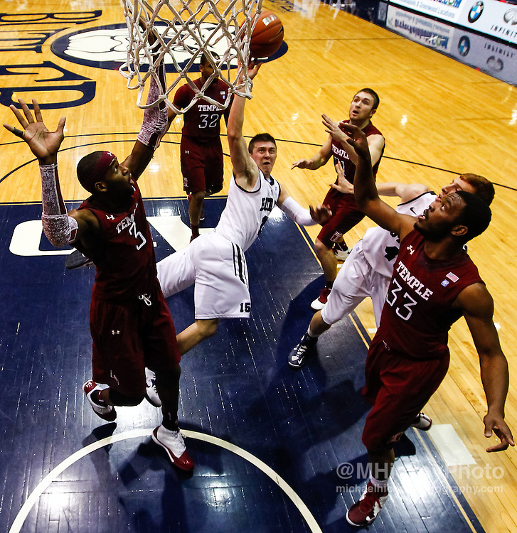 INDIANAPOLIS, IN - JANUARY 26: Rotnei Clarke #15 of the Butler Bulldogs shoots the ball as he falls against the Temple Owls at Hinkle Fieldhouse on January 26, 2013 in Indianapolis, Indiana. Butler defeated Temple 83-71. (Photo by Michael Hickey/Getty Images) *** Local Caption *** Rotnei Clarke