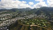 Aerial, Punchbowl Cemetary of the Pacific, Honolulu, Oahu, Hawaii